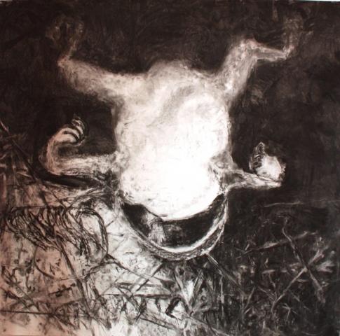 Submission/houtskool op papier/150x150 cm